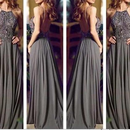 Custom Made Gray Long Prom Dresses,..