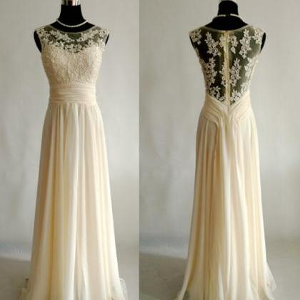 Custom Made Champagne Prom dress Br..
