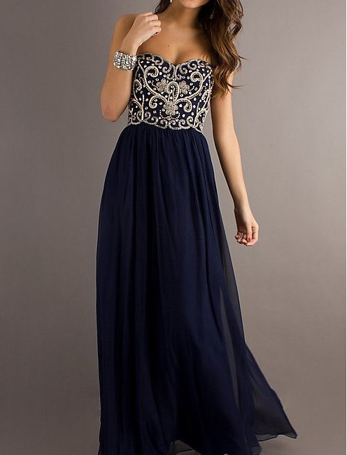 A Line Navy Blue Sweetheart Chiffon Floor Length Long Prom Dress ...