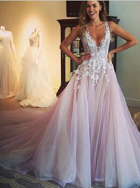 Gorgeous A Line Scoop Long Wedding Dress Prom Dress With Appliques