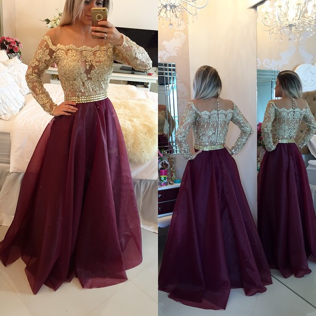 b2bb3b285bdb8 Long Sleeves Prom Dresses Gold Illusion Lace Beaded Burgundy A-line  Gorgeous Evening Gowns, Illusion Long Sleeves Evening Gowns, Gold and  Burgundy Prom ...