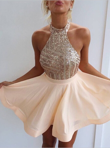 Champagne Homecoming Dress, Halter Prom