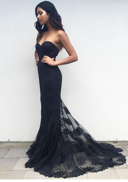 2721b5acb New Arrival Prom Dress, Charming Black Sweetheart Neck Lace Train Long Prom  Dress, Woman's Lace Evening Dress, Mermaid Prom Dress, Formal Dresses