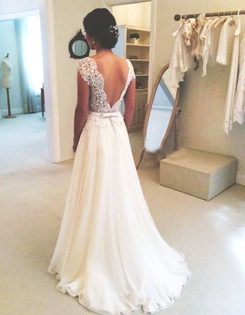 A Line Round Neckline Chiffon Lace Long Wedding Dresses Gown Open Back Dress Sleeves