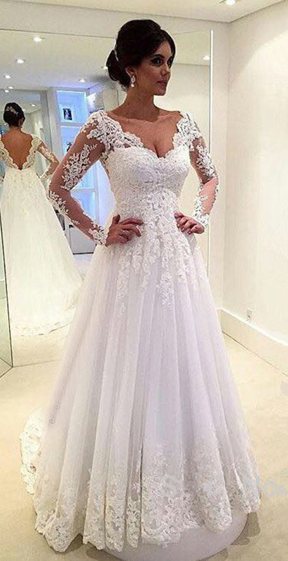 7003e0e0f535 Sexy V Neck Wedding Dress, Open Back Floor Length Bridal Gowns, Long Sleeves  Lace Beach Wedding Dresses, White Lace Wedding Gown