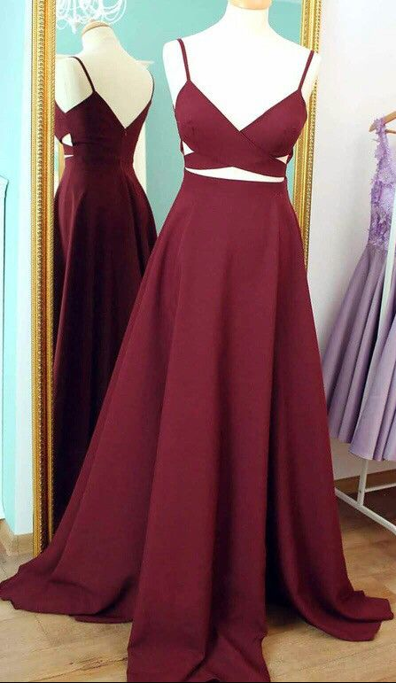 Two Piece Straps Burgundy Long Prom Dress, Formal Evening Dress, Red Prom Dress, Long Prom Dress,