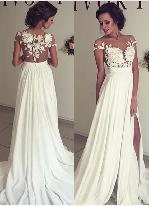 79c8c9ae5c1 Elegant Lace Appliques Wedding Dress