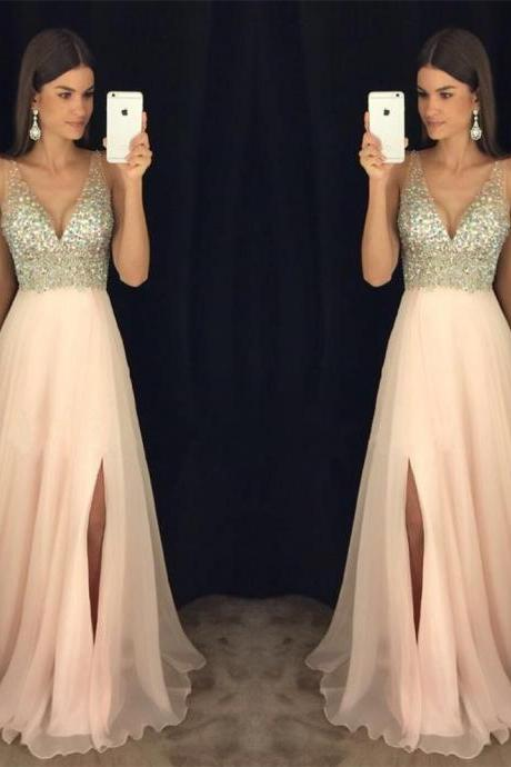 Modest Prom Dress,New Arrival Prom Dress,Sparkly Crystal Beaded V Neck Open Back Long Chiffon Prom Dresses 2017, Pageant Evening Gowns with Leg Slit