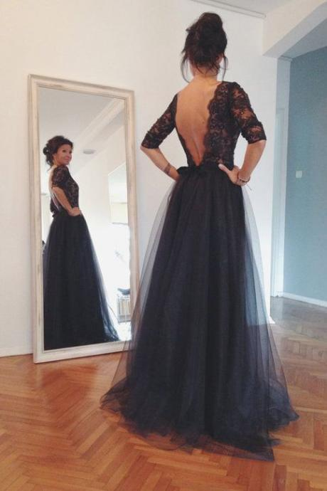 Black Lace Tulle Long Prom Dresses, Formal Dresses, Long Sleeves Prom Dress, Charming Prom Dress, Elegant Evening Dress
