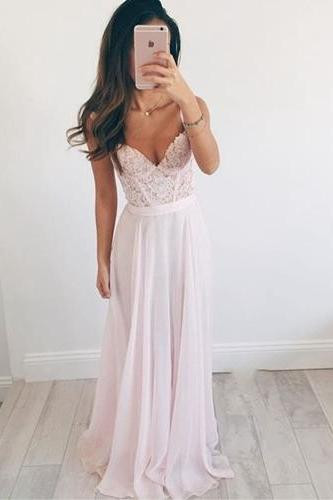 Spaghetti Straps Prom Dress, Charming Prom Dress, Lace Appliques Prom Dress, A Line Prom Dress, Long Evening Dress