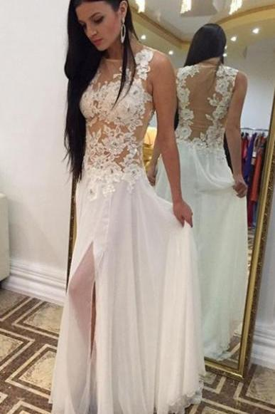 Princess Prom Dress, White Prom Dress, Long Prom Dress, Chiffon Prom Dress, Slit Prom Dress with See Through Back