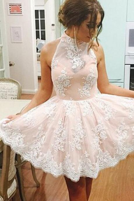 Elegant High Neck Homecoming Dress, Sleeveless Homecoming Dress, Short Prom Dress, Illusion Back Champagne Homecoming Dress with White Lace, Lace Homecoming Dresses, Homecoming Dress 2016