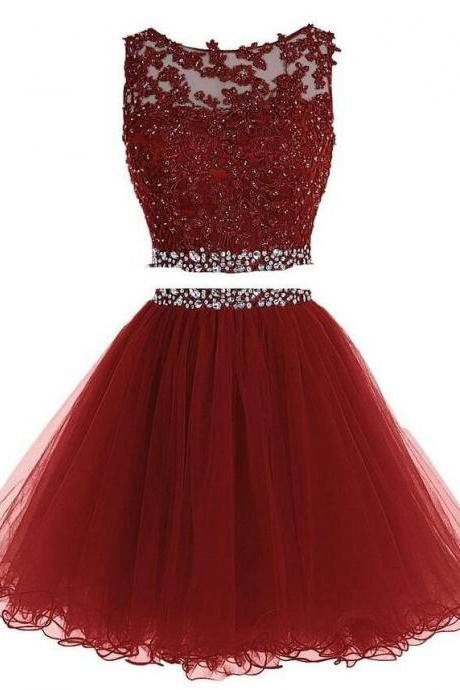 Lace Bateau Neck Sleeveless Short Tulle Homecoming Dress Featuring Crystal Embellished Belt