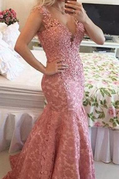 Sexy V neck Lace Appliques Mermaid Evening Dress 2016 Sleeveless, Lace Prom Dress, Pink Prom Dress, Mermaid Prom Dresses, Pink Mermaid Women's Evening Party Gowns