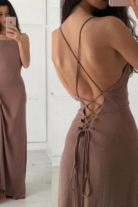 Floor Length Prom Dress Featuring Sexy Cross Back and Lace-Up Back Detailing, Open Back Prom Dress,Long Prom Dress,Soft Chiffon Prom Dress
