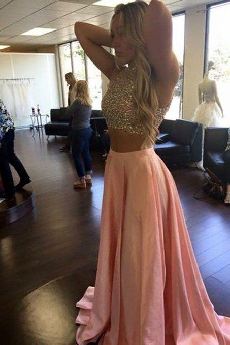 2 Pieces Halter Rhinestones Beading Crop Top High Slit Long Prom Dress, Senior Prom Gowns, Sexy Evening Dresses