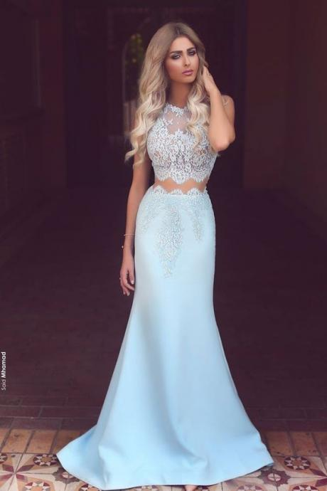 Light Blue Satin White Lace See-through Round Neck Mermaid Long Prom Dresses Formal Dresses
