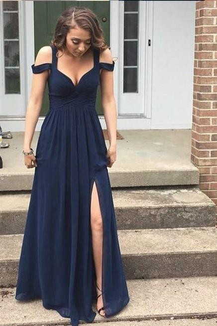 Charming Navy Blue V-neck Chiffon Prom Dress with Slit, Cheap Evening Dress, Bridesmaid Dresses