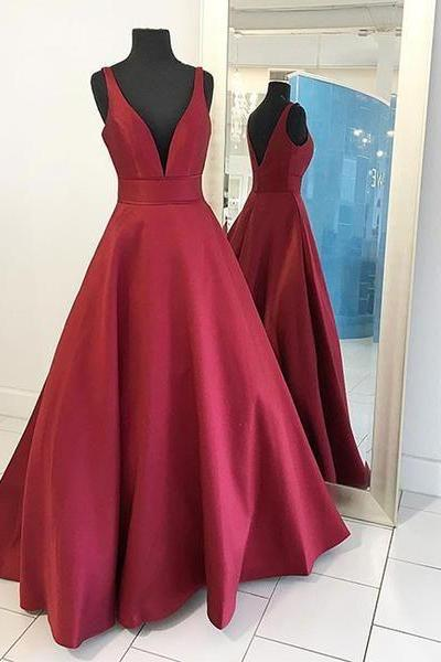 Cheap Red V Neck Prom Dress Floor Length, Simple Evening Dresses for Woman, Formal Gowns