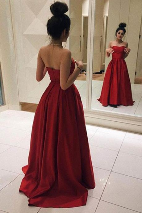 Elegant Red Satin Sweetheart Ball Gown Prom Dress, Senior Prom Party Dresses