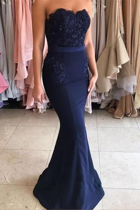 Navy Blue Prom Dress, 2017 Prom Dress, Mermaid Prom Dress, Navy Blue Long Prom Dress, Strapless Mermaid Appliques Long Prom Dress, Woman Evening Dress