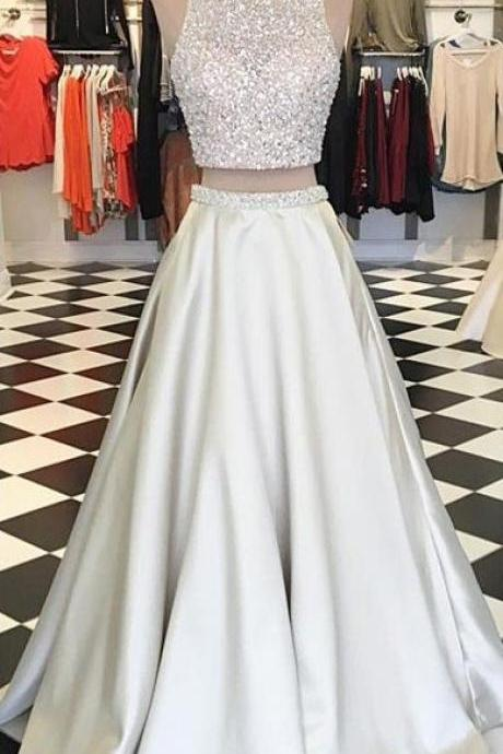 Two Piece Beaded Prom Dress, White A-line Prom Evening Dress, Graduation Dresses, Prom Dress for Teens