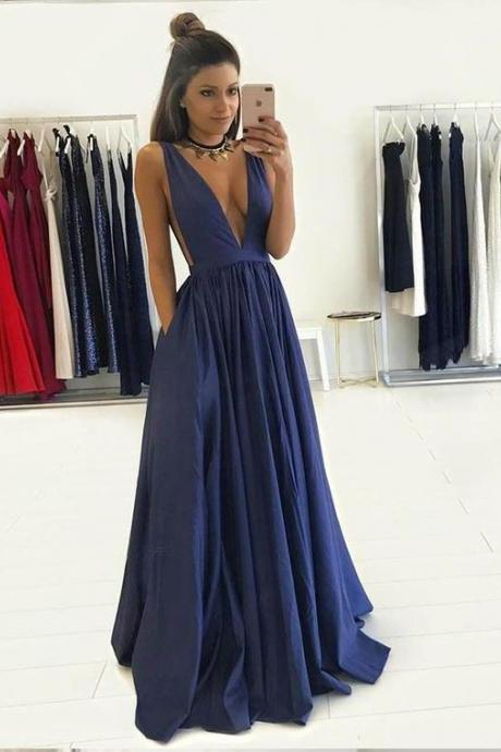 New Arrival Deep V-neck Royal Blue Prom Dresses for Women, Long Party Dresses
