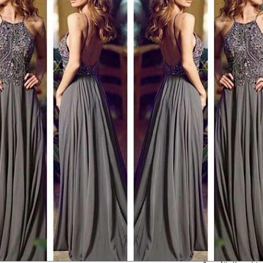 Custom Made Gray Long Prom Dresses, Straps Prom Gowns,Beaded Evening Dresses, Backless Evening Gowns, Graduation Dresses