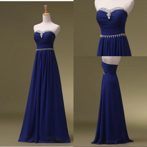 Royal Blue Prom Dresses, Long Bridesmaid Dresses, Long Evening Dresses, Strapless Evening Gowns, Formal Dress, Party Dresses Custom
