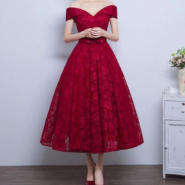 1950s Audrey Hepburn Vintage Inspired Off Shoulder Lace Prom Formal Dress, Burgundy Lace Prom Dress, Lace Evening Dress, Lace Dress, Woman Evening Gowns