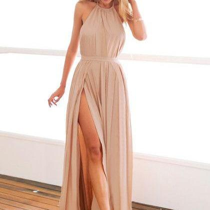 Sexy Backless Prom Dress, Slit Prom Dress, Halter Nude Maxi Dress, Nude M-slit Halter Dress, Party Dress, Woman Dress
