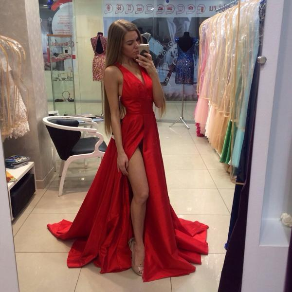 New Arrival Long Red Prom Dresses, Satin Prom Dress, A-Line V-Neck Prom Dress, Sleeveless Off The Shoulder Sweep Train Prom Party Dress, Formal Gowns
